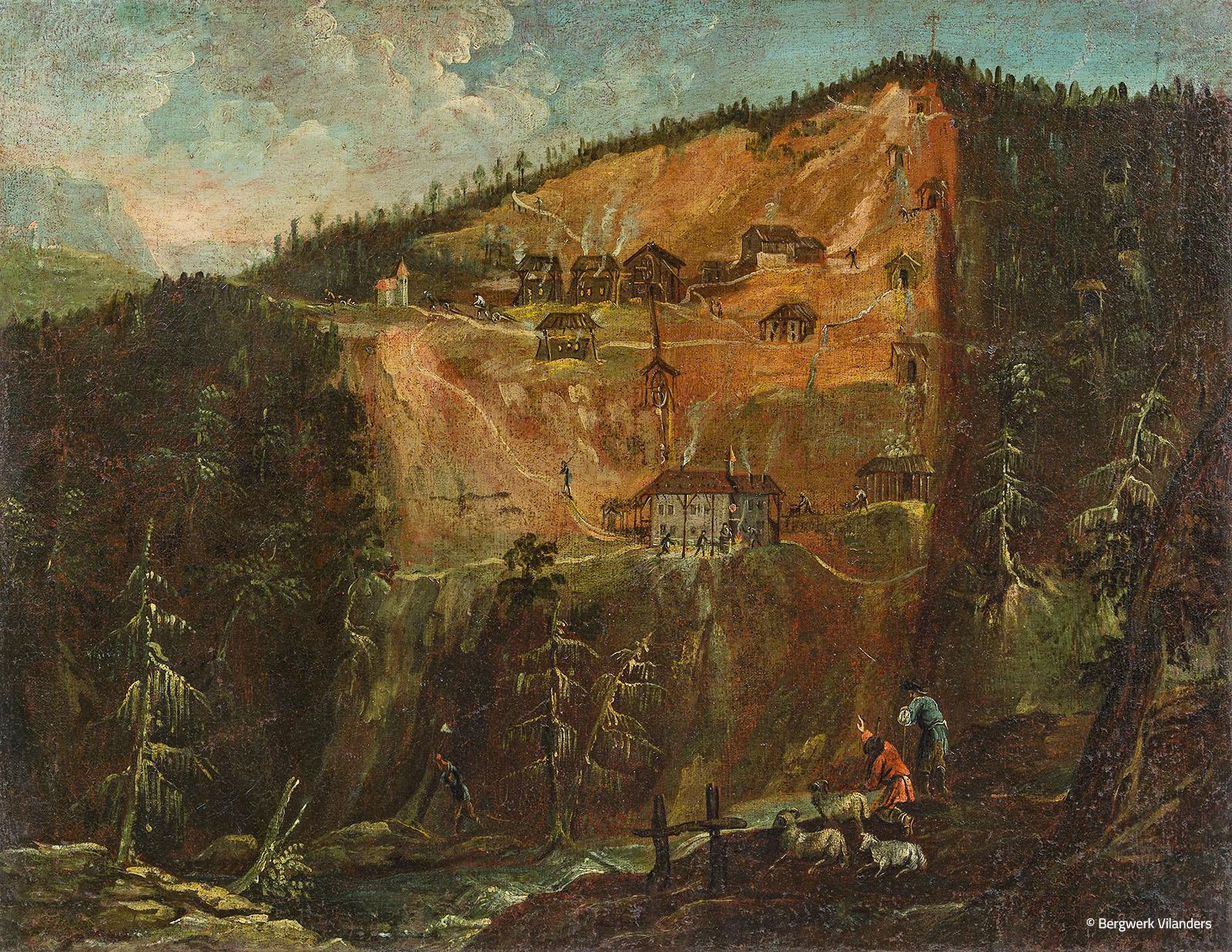 Gemälde Rotlahn Bergwerk Villanders